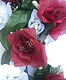 Wedding Flowers 22'' Burgundy & White Rose Swag With Gyps Artificial Silk Home Party Decor (Burgundy)