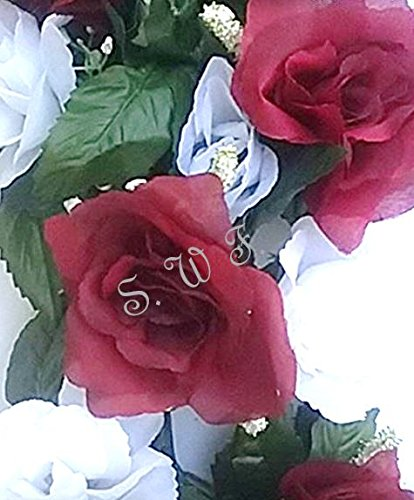 Wedding Flowers 22'' Burgundy & White Rose Swag With Gyps Artificial Silk Home Party Decor (Burgundy) by Wedding Flowers