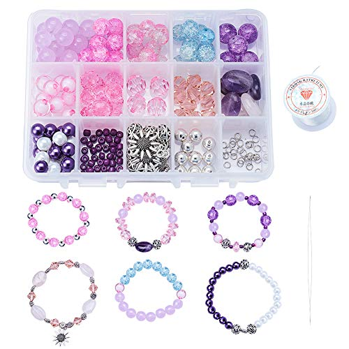 SUNNYCLUE DIY 6PCS Beaded Stretch Bracelet Making Kit Include Semi-Precious Stone Natural Amethyst Jade Rose Quartz Gemstone Beads Crackle Glass Beads