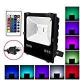 100W RGB LED Flood Lights, Waterproof Outdoor Color Changing LED Security Light with Remote Control, Dimmable Wall Washer Lights with US 3-Plug For Sale