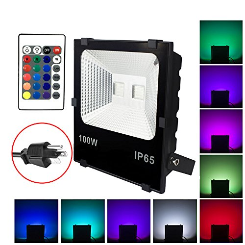 100W RGB LED Flood Lights, Waterproof Outdoor Color Changing LED Security Light with Remote Control, Dimmable Wall Washer Lights with US 3-Plug