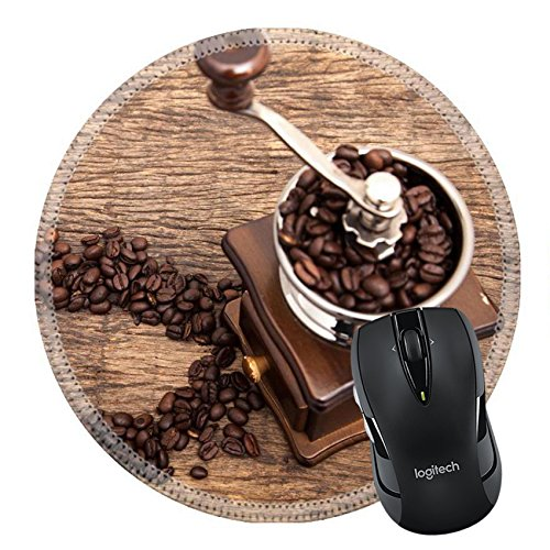 MSD Mousepad Round Mouse Pad/Mat 29882500 Vintage coffee bean grinder next to circle shape coffee beans on wooden table top as background