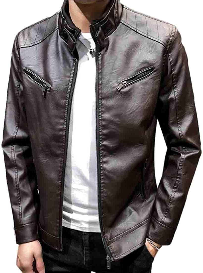 Keaac Mens Vintage Stand Collar Faux Leather Winter Motorcycle PU Leather Jackets