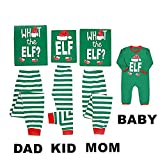Mikrdoo Family Matching Christmas Pajamas Sleepwear Letter Printed Green Striped Pajamas Pant Set (3 Years, Kid)