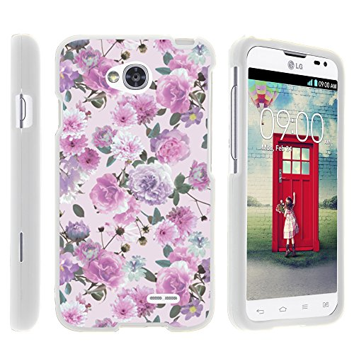 LG Optimus L70 Case, LG Ultimate 2 Case, Stylish Snug Fitted Hard Protector Cover Snap On Case with Customized Design for LG Optimus L70 MS323, LG Optimus Exceed 2 VS450PP, LG Realm LS620, LG Ultimate 2 L41C (Metro PCS, Verizon, Boost Mobile) from MINITURTLE | Includes Clear Screen Protector and Stylus Pen - Pink Purple Flower (Lg Realm Phone Boost Mobile)