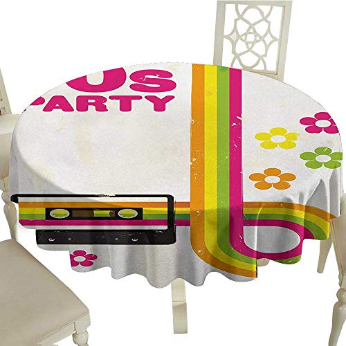 70s Party Printed Tablecloth Party Flyer Inspired Cute and Curved Stripes with Daisies Audio Cassette Tape Desktop Protection pad D51.18 Inch Multicolor
