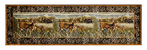 Champion Rugs Wildlife Nature Cabin Deer Scene Area Rug Carpet (2 Feet 2 Inch X 7 Feet 2 Inch ()