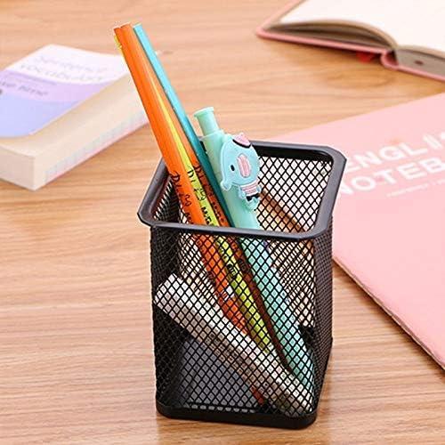 3 PCS Stiftehalter Feder-Behälter-Ineinander greifen Metall Bleistifthalter Cup,ZhangJJun (Color : Square Blue)