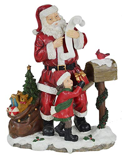Lorenzon Gift NBB-4013 Santa Claus with Child, Polyresin, Red, One Size ()