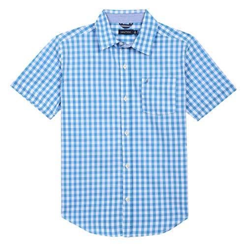 - Nautica Boys' Toddler Short Sleeve Gingham Woven Shirt, Eric Ocean, 2T