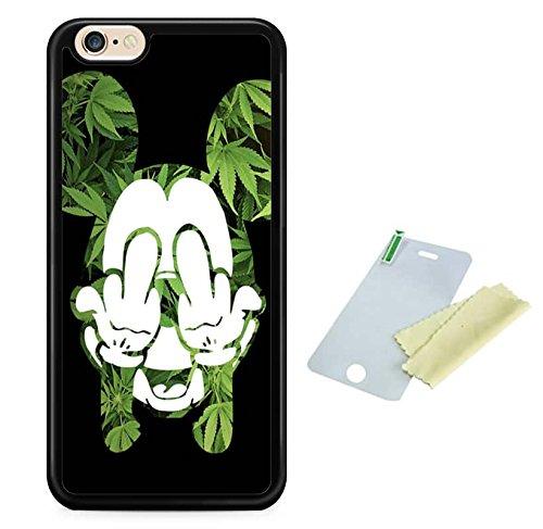 Coque silicone BUMPER souple IPHONE 6 - Fuck cannabis motif 3 DESIGN case+ Film de protection OFFERT