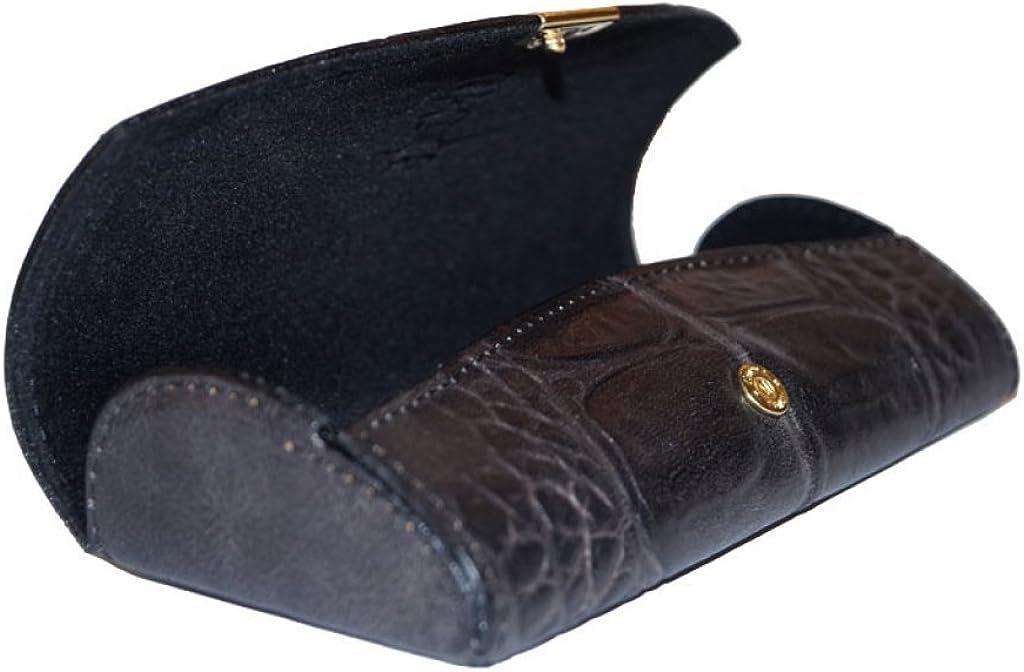 echtes Leder Brillenetui nasenfahrrad24 edles Etui mit Druckknopf in schwarz