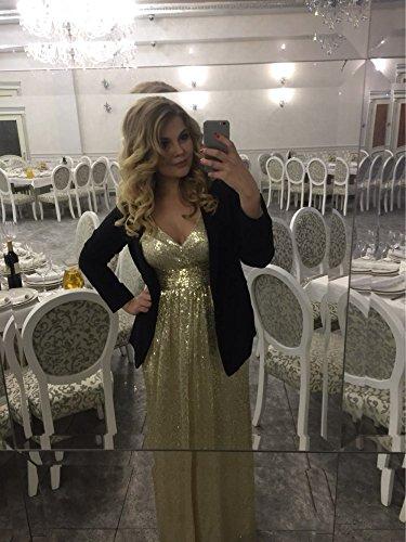 Party Brautjungfer Langes Ausschnitt Kleid Gold Grau Aiyana ärmellos V Pailletten Dame Abendkleid kleid mit Promkleider Langes Elegantes xpnYpw