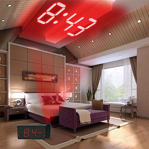 Tpingfe Projection Digital Alarm Clock Multifunction with LED Digital Projection FM Radio Temperature Humidity Home, Kitchen, Bedroom, Study