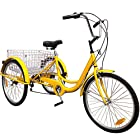Happybuy 24 Inch Adult Tricycle Series 6/7 Speed 3 Wheel Bike Adult Tricycle