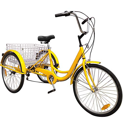 Happybuy 24 Inch Adult Tricycle Series 6/7 Speed 3 Wheel Bike Adult Tricycle Trike Cruise Bike Large Size Basket for Recreation, Shopping,Exercise Men's Women's Bike (Yellow)