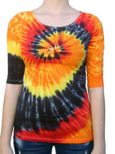 Rockin' Cactus Women's(Reg)3/4 Sleeve Tie Dye Shirt-Fire & Black Spiral-XL