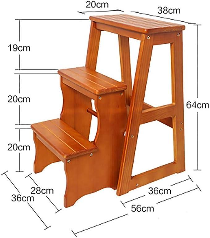 AOLI Escalera plegable de madera con taburete, escalera multifunción de 2 3 peldaños para la cocina del hogar Office-2C,3b: Amazon.es: Bricolaje y herramientas