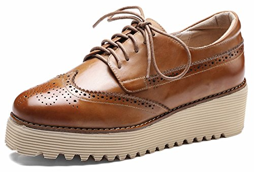 up Brouge lite Lace U Perforated Brown Wingtip Vintage 5 Shoes Platform Wedges Oxfords Heel Leather Womens cm nTvvRwP