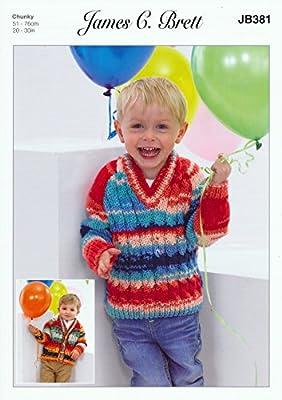 Boys Chunky Knitting Pattern Kids Cabled Cardigan /& Sweater James Brett JB381