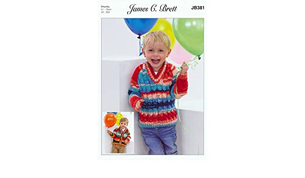 James Brett Chunky Knitting Pattern Boys V Neck Cabled Cardigan /& Sweater JB381