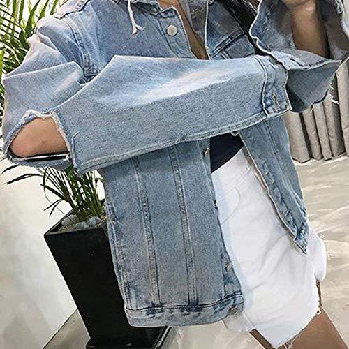 Fashion Relaxed Fidanzato Mode Cavo Casual Autunno Tendenza Maniche Blau Marca Jeans Giacche Di Giubbino Ragazze Eleganti Denim Bolawoo Giacca Donna Lunghe wZttza