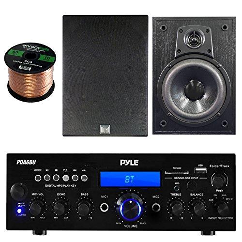 Pyle PDA6BU Amplifier Stereo Receiver Bluetooth AM/FM Radio USB AUX input 200 Watt Bundle Combo With Dual Electronics LS205EB Black Wood Bookshelf Indoor/Outdoor Speaker + Enrock 50ft 16g Speaker Wire (Electronic Tunner compare prices)