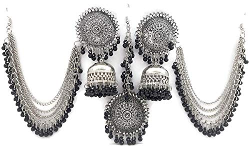 Total Fashion Oxidised Tikka Earrings For Girls And Women