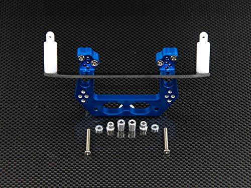 Graphite Damper - Traxxas Rustler VXL Upgrade Parts Aluminum Front Damper Plate with Graphite Body Post Mount and Delrin Post - 1 Set Blue