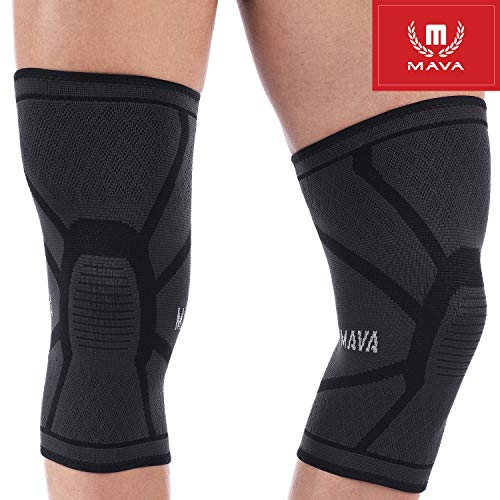 Mava Sports Knee Compression Sleeve Support for Men and Women. Perfect for Powerlifting, Weightlifting, Running, Gym Workout, Squats and Pain Relief - (Black, Small)