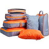 LANGRIA 7 Set Waterproof Packing Cubes Organizers for Travel Luggage Suitcase Bag for Underwear...