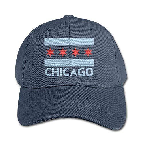 Chicago Cubs Navy Visor - Chicago City Flag Boys Girls Adjustable Snapback Curved Visor Washed Dyed Cotton Ball Hat Toddler Custom Hat Navy