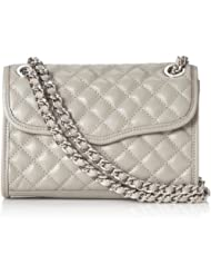 Rebecca 瑞贝卡Minkoff Mini Quilted女士迷你100%真皮链条斜挎包Handbag灰折后$127.54