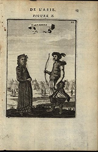 Tatar Man & Woman Hunter Archer Tent Village 1683 antique engraved print (Tent Engraved)