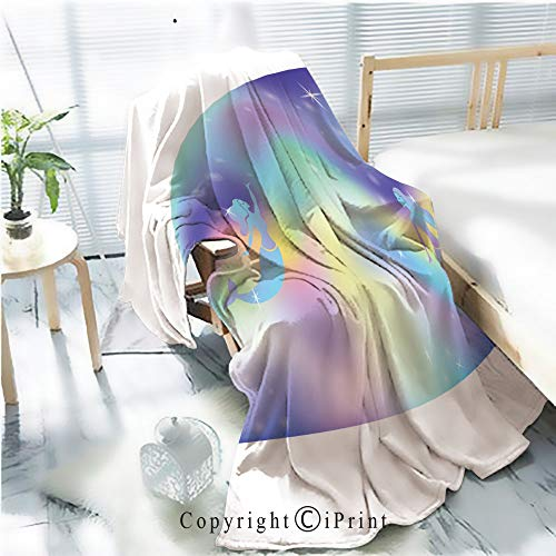 Printed Throw Blanket Smooth and Soft Blanket,Fairy space magic glow vector background with mermaids Glowing beautiful universe Rainbow mesh Multicolor universe space banner in princess colors Fanta