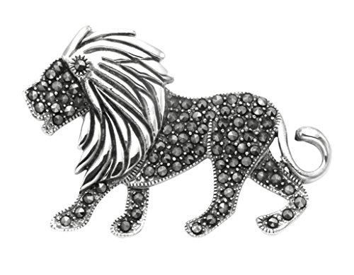 Wild Things Sterling Silver & Marcasite Lion Pin