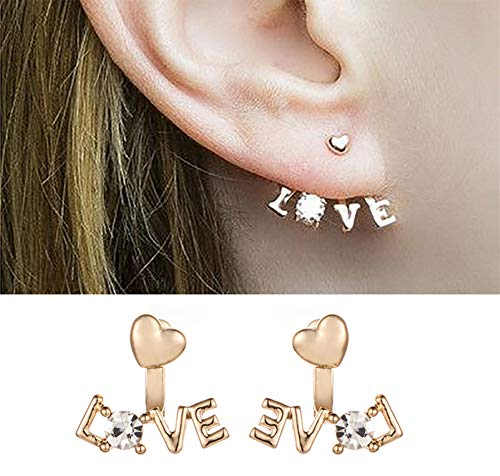 - Eoumy Crystal Love Heart Ear Jacket Earrings Gold Heart Studs Earrings for Women Girl