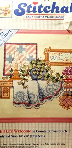 Stitchables Easy Counted Cross Stitch Kit with Free Frame, Extra Large Chart, Still Life Welcome 10 X 8