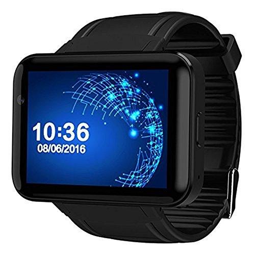 DM98 Bluetooth Smart Watch 2.2 inch Android OS 3G Smartwatch Phone MTK6572 Dual Core 1.2GHz 512MB RAM 4GB ROM Camera WCDMA GPS (black) 512 Mb Ram Chip