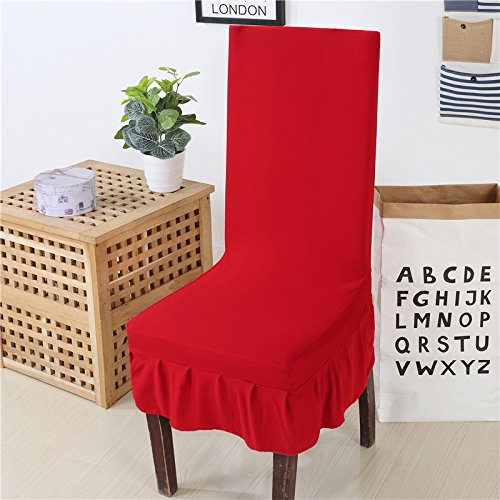 Zhiyuan Spandex Stretch Knit Kitchen Dining Room Chair Slipcover with Ruffle Set of 4, Red