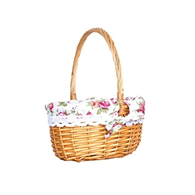 Picnic Basket, Wicker Storage Basket - Easter Storage Basket with Handle for Egg Gathering Wine Picnic Kitchen Basket Basket Picking Fruit Wedding : Garden & Outdoor