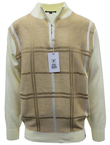 Stacy Adams Men's Sweater, Double Windowpane Design (4XL, Cream) by Stacy Adams