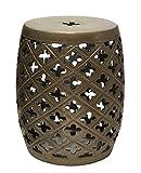 Sagebrook Home Sagebrook Home-Open Shamrock Ceramic Garden Stool, Bronze, 15