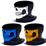 eBoot 3 Pack Seamless Skull Face Tube Mask Motorcycle Face Mask (Multicolor-A)