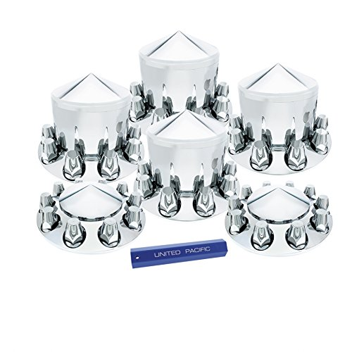 United Pacific Chrome Pointed Axle Cover Combo Kit w/ 33mm Nut Cover Semi Trailer - - Trailer Semi Axles