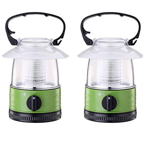 (ZZD 2 Pack Portable LED Camping Lantern Lights Mini Kid Waterproof Lightweight Camping Tent Light for Emergency, Hurricane, Outage (4AA Battery Operated))