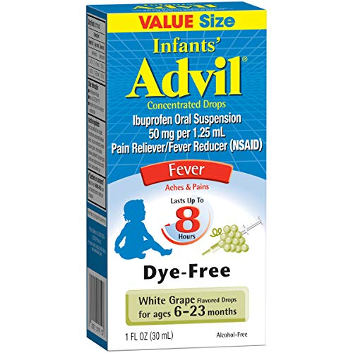 (Advil Infants' Fever Reducer/Pain Reliever Dye-Free, 50mg Ibuprofen Concentrated Drops, White Grape Flavor, 1 ounce)
