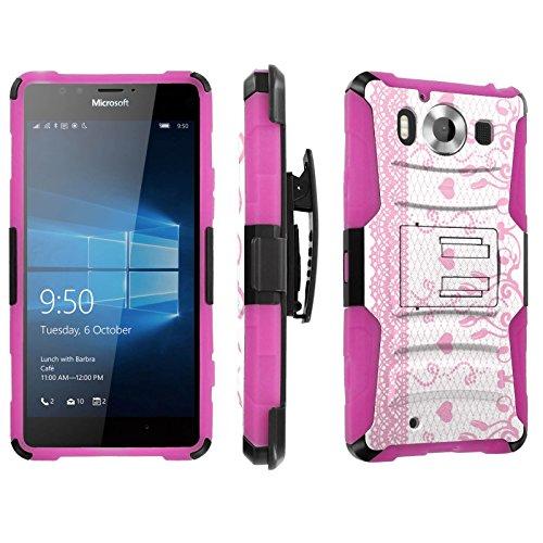 Photo - [SkinGuardz] Case for Microsoft Lumia 950 [Heavy Duty Ultra Armor Tough Case with Holster] - [Lace-White]