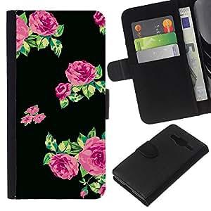 Supergiant (Dress Pattern Roses Green Black Fabric) Dibujo PU billetera de cuero Funda Case Caso de la piel de la bolsa protectora Para Samsung Galaxy Core Prime / SM-G360