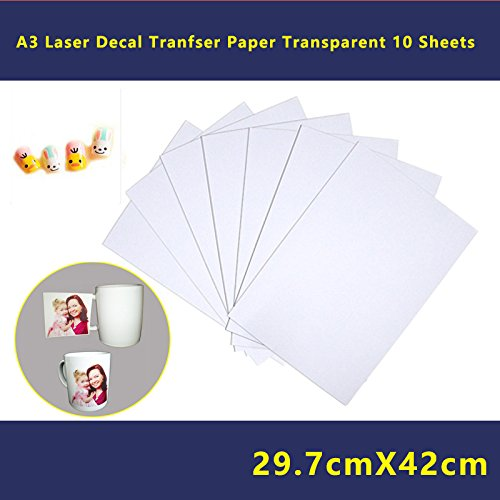 10 Sheets DIY A3 Size Laser Water Slide Decal Paper Sheets Transparent Clear Image Photo Transfer Papers - Transparent Decals